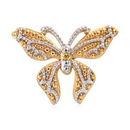 Diamond (Rnd) Butterfly Pendant in 14K Gold Overlay Sterling Silver