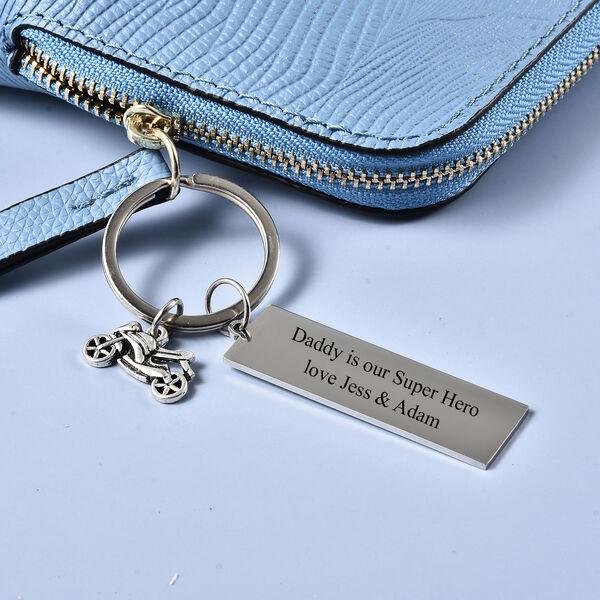 Personalised Engravable Motorbike and Plate Key Ring in Stainless Steel