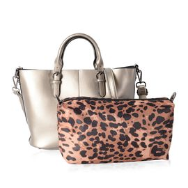 Set of 2 - 100% Genuine Leather Metallic Silver Tote Bag (Size 36x30x23.5x12.5 Cm) and Leopard Pattern Pouch (Size 28x19x10 Cm)