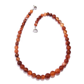 TJC Launch- Amber Colour Agate Graduated Necklace (Size 20) with Magnetic Lock in Platinum Overlay S