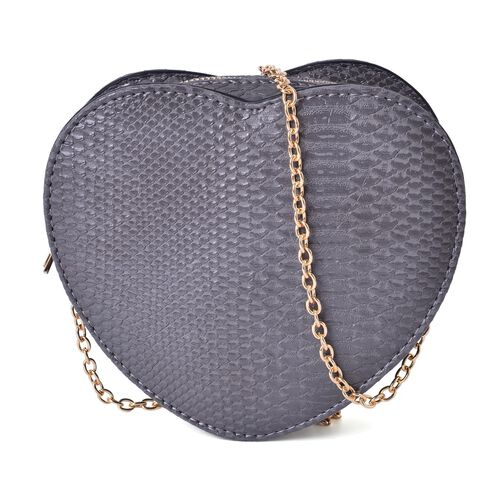 Fabulous Grey Heart Crossbody Bag with Chain Strap (Size 18x16x6.5 Cm)