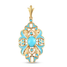 Arizona Sleeping Beauty Turquoise Enamelled Pendant in 14K Gold Overlay Sterling Silver 1.10 Ct.