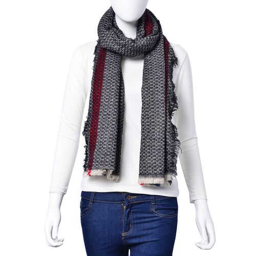 Black, White, Red and Navy Colour Small Circle Pattern Scarf with Fringes (Size 180x80 Cm)