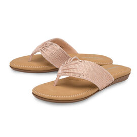 Dunlop Embellished Toe Post Slip on Flat Sandals (Size 3) - Rose Gold