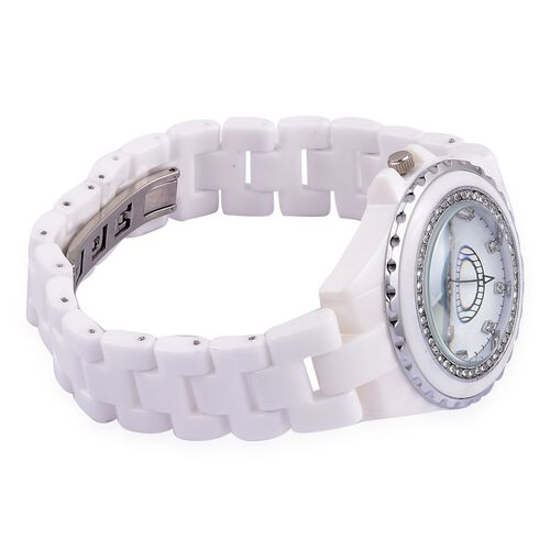 GENOA Japanese Movement White Austrian Crystal White Dial Water Resistant Watch in Silver Tone with Stainless Steel Back and White Ceramic Strap