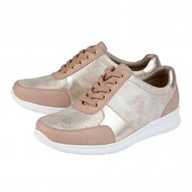 Lotus Stressless Leather Florence Lace-Up Trainers in Pink Colou