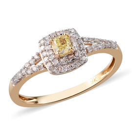9K Yellow Gold Natural Yellow and White Diamond Ring 0.50 Ct.