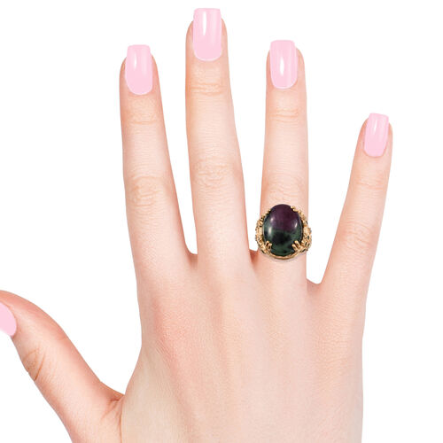 Ruby Zoisite (Ovl 20x15 mm), Russian Diopside and Natural Cambodian Zircon Ring in 14K Gold Overlay Sterling Silver 21.50 Ct, Silver wt 7.71 Gms.