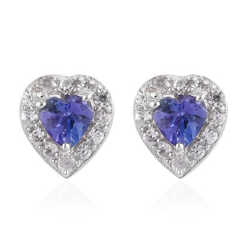 Tanzanite and Natural Cambodian Zircon Halo Heart Stud Earrings (with Push Back) in Platinum Overlay
