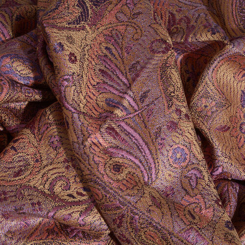 SILK MARK- 100% Superfine Silk Golden, Pink and Multi Colour Jacquard Jamawar Scarf with Fringes (Size 180x70 Cm)