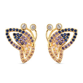 Simulated Diamond and Simulated Multigemstone Earrings (with Push Back) in Yellow Gold Overlay  Ster