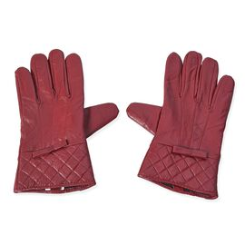 100% Genuine Leather Gloves with Bowknot and Quilted Pattern on Wrist (Size 9x23 Cm) - Wine