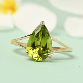 9K Yellow Gold Peridot Solitaire Ring 3.310 Ct.