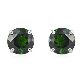 RHAPSODY 950 Platinum AAAA Russian Diopside (Rnd 7 mm) Stud Earrings (with Screw Back) 3 Ct.