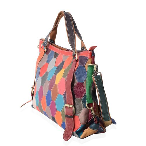 Morocco Collection 100% Genuine Leather Colour Blocking Tote Bag with External Zipper Pocket and Removable Shoulder Strap (Size 47x31.5x13 Cm)