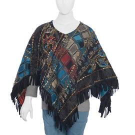 Hand Embroidered Adda Work - Black and Multi Colour Poncho (Size 79x57 cm)