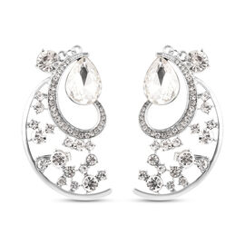 White Crystal Climber Earrings (with Push Back) in Silver Tone