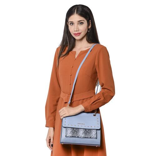 LOCK SOUL Snake Skin Pattern Convertible Bag with Shoulder Strap - Blue