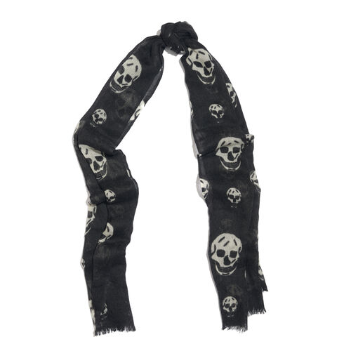 100% Merino Wool Black and Off White Colour Skull Printed Scarf with Fringes (Size 170X70 Cm)