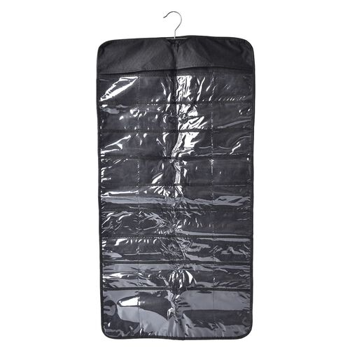 Set of 2 - Black Colour Hanging Jewellery Organizer with Double Sided 72 Pocket (Size 85x23 Cm)