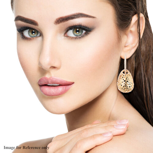Simulated Diamond Detachable Earrings (with Clasp) in Gold Tone