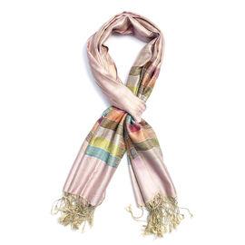 SILK MARK - 100% Superfine Silk Pink and Multi Colour Stripe Pattern Scarf (Size 180x70 Cm)