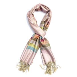 SILK MARK - 100% Superfine Silk Pink and Multi Colour Stripe Pattern Scarf (Size 180x70 Cm)