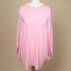 Nova of London Diamante Star Long Sleeve Jersey Top (Free Size/Length-72Cm) - Light Pink