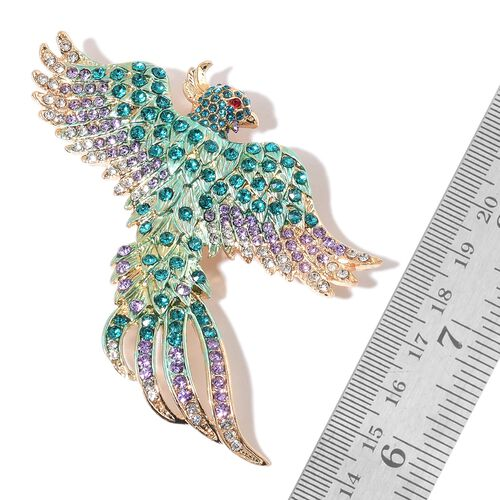Set of 2 - AAA Multi Colour Austrian Crystal and Simulated White Pearl Enameled Poppy Flower and Phoenix Bird Brooch or Pendant in Yellow Gold Tone