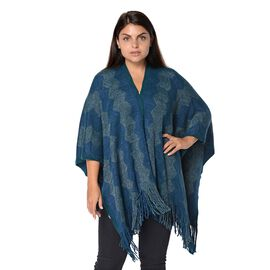 Wave Stripe Pattern Blanket Kimono with Silver and Blue Wire and Tassels (Size 64x104 Cm) - Dark Tea