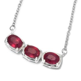 African Ruby Necklace (Size 18) in Platinum Overlay Sterling Silver 3.00 Ct.