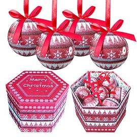 Set fo 14 - Pink and Multi Colour Christmas Decoration Nordic Decoupage Pattern Baubles in a Box (Si