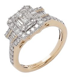 NY Close Out Deal- 14K Yellow Gold Natural Diamond  (I1-I2/G-H) Cluster Ring 1.06 Ct