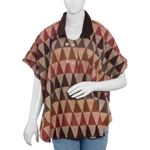 Beige Brown and Multi Colour Corduroy Peter Pan Collar Top (Size 84x76 Cm)