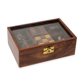 Six-in-One Wooden Puzzle Games Set with Glass Lid (Size 17x12x6.25 Cm)