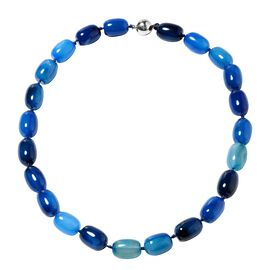 19 Inch Blue Colour Agate Beaded Necklace With Magnetic Lock