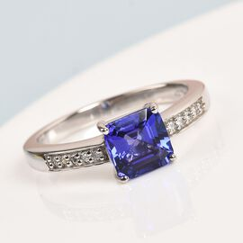 RHAPSODY 950 Platinum AAAA Tanzanite and Diamond (VS/E-F) Ring 2.12 Ct, Platinum wt. 6.20 Gms