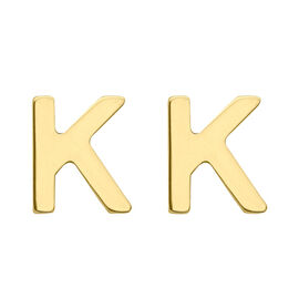 9K Yellow Gold Initial K Stud Earrings (with Push Back)