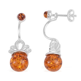Baltic Amber Solitaire Drop Earrings in Rhodium Plated Sterling Silver With Push Back