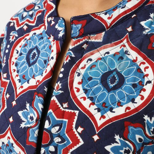 Handmade Printed Reversible Quilted Long Jacket in Navy Blue and Multi Colour - Size M