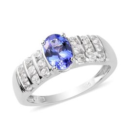 Premium Tanzanite and Natural Cambodian Zircon Ring in Platinum Overlay Sterling Silver 1.50 Ct.