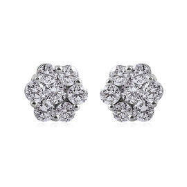 1 Carat Diamond Pressure Set Floral Earrings with Push Back in 9K White Gold SGL Certified I3 GH