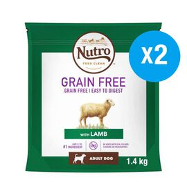 Nutro: Adult DOG Medium Dry Food Grain Free with Lamb - 1.4KG (Set of 2)