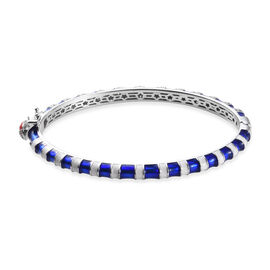 GP Zircon and Blue Sapphire Stacker Bangle in Platinum Plated Sterling Silver