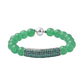 Green Aventurine and Neon Green Austrian Crystal Beads Bracelet (Size - 8.5)
