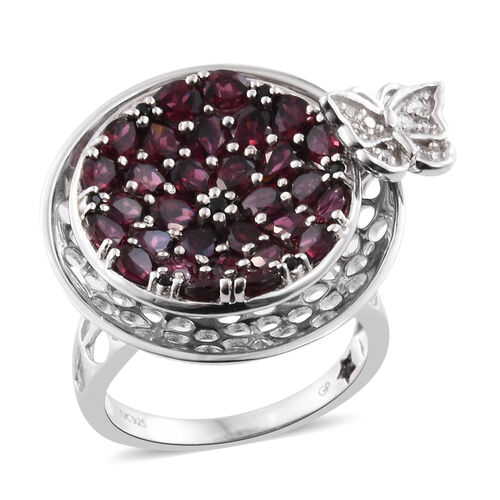GP Rhodolite Garnet (Pear), Boi Ploi Black Spinel, Natural Cambodian Zircon and Kanchanaburi Blue Sapphire Butterfly Ring in Platinum Overlay Sterling Silver 7.500 Ct. Silver wt 12.00 Gms.