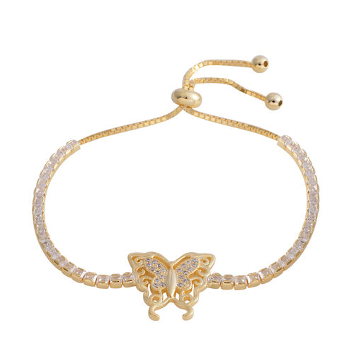 ELANZA Simulated Diamond (Emerald Cut) Adjustable Butterfly  Bracelet (Size 6.5 - 8.5) in Yellow Gold Overlay Sterling Silver, Silver wt 7.00 Gms.