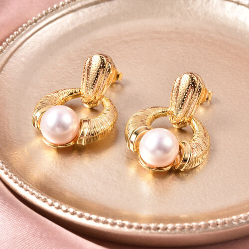 Edison Pearl Earrings (with Push Back) in Yellow Gold Overlay Sterling Silver, Silver wt 5.94 Gms