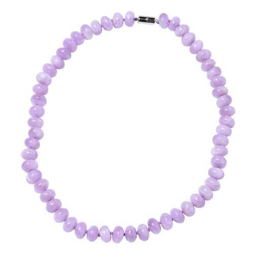 570 Ct Kunzite Beaded Necklace in Rhodium Plated Sterling Silver 20 Inch
