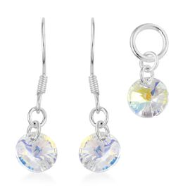 J Francis Crystal from Swarovski - Moonlight Colour Crystal (Rnd) Solitaire Pendant and Hook Earrings in Sterling Silver